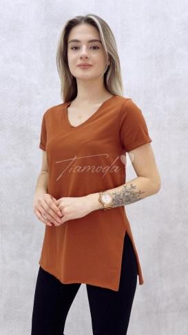 V Yaka Yırtmaçlı Tshirt - Tarçın