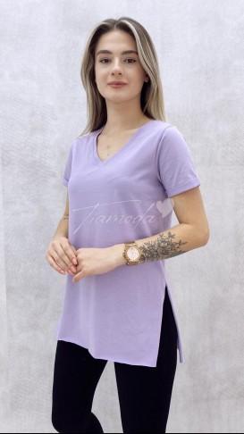 V Yaka Yırtmaçlı Tshirt - Lila