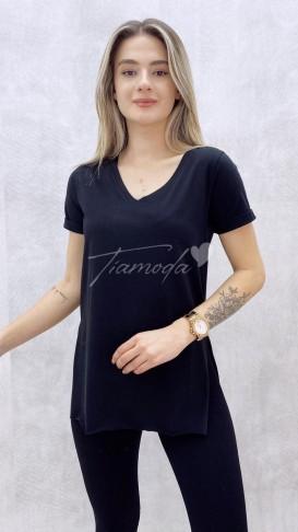V Yaka Yırtmaçlı Tshirt - Siyah