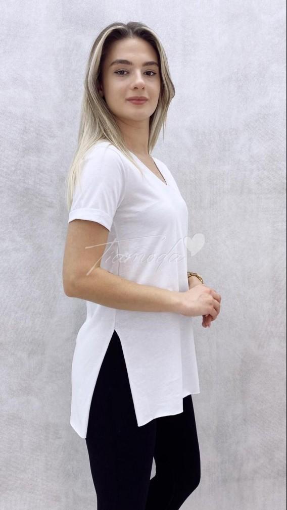 V Yaka Yırtmaçlı Tshirt - Beyaz