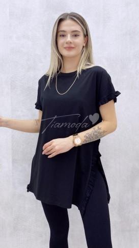 Fırfırlı Tshirt - Siyah