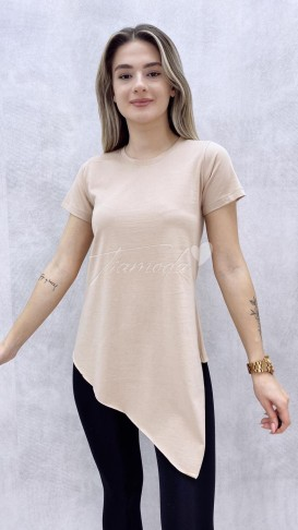 Asimetrik Tshirt - Bej