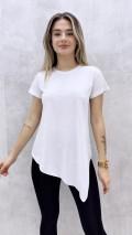 Asimetrik Tshirt - Beyaz