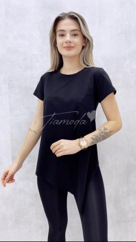 Asimetrik Tshirt - Siyah