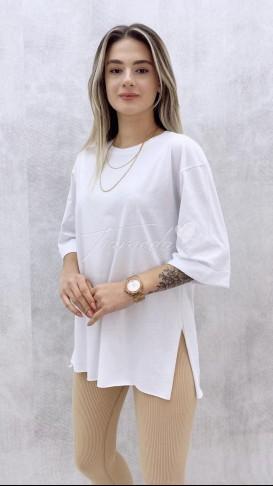 Duble Kol Salaş Tshirt - Beyaz
