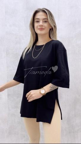 Duble Kol Salaş Tshirt - Siyah