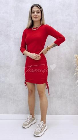 Yanları Büzgülü Penye Elbise - Kırmızı