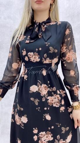 Yaka Fiyonk Çiçekli Elbise