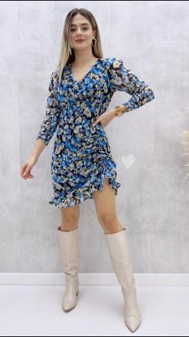 Çiçek Desen Drapeli Elbise - Mavi