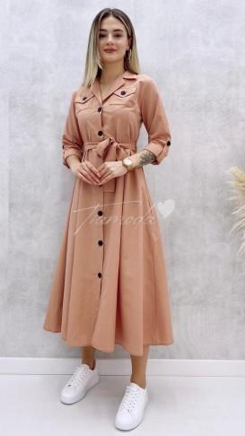 Uzun Kol Pileli Elbise - Pudra