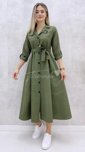 Uzun Kol Pileli Elbise - Haki