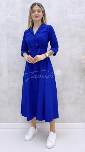 Uzun Kol Pileli Elbise - Saks Mavi