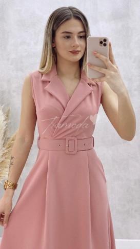 Gömlek Yaka Kolsuz Elbise - Pudra