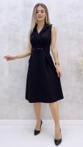 Ceket Yaka Kolsuz Elbise - Siyah