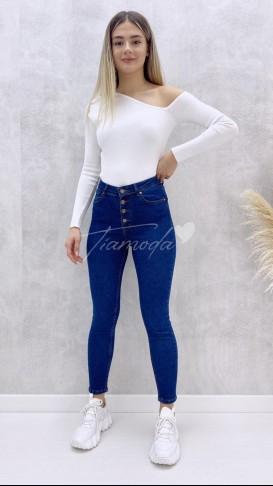 Düğmeli Skinny Jean - Lacivert