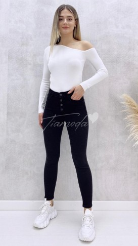 Düğmeli Skinny Jean - Siyah