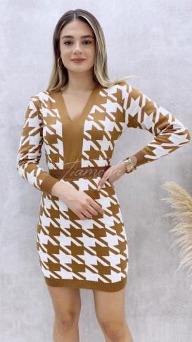 Bel Lastik Kazayağı Desen Elbise - Bej