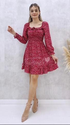 Yaka Detay Mini Elbise - Kırmızı
