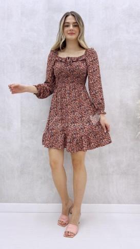Yaka Detay Mini Elbise - Somon