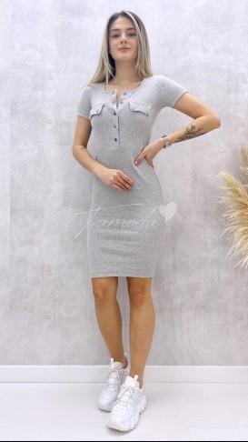 Yaka Çıtçıt Elbise - Gri