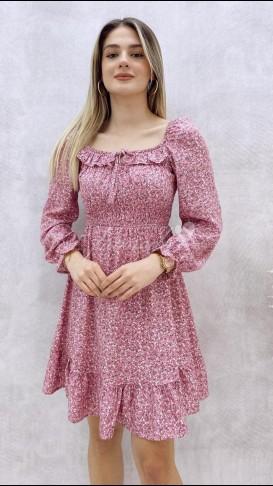 Yaka Detay Mini Elbise - Pembe