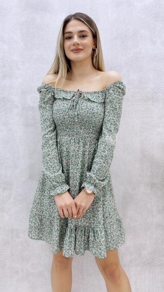 Yaka Detay Mini Elbise - Mint