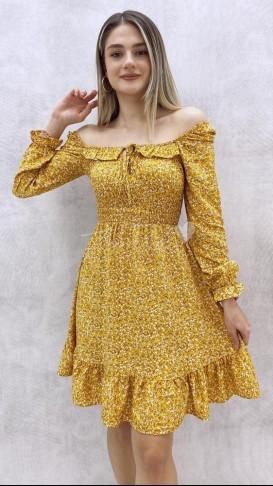 Yaka Detay Mini Elbise - Sarı
