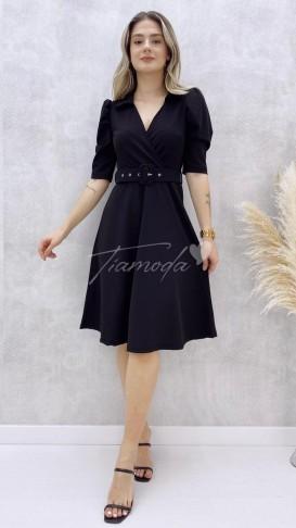 Gömlek Yaka Omuz Detay Elbise - Siyah