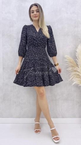 Kol Ucu Lastikli Çakıl Desen Elbise