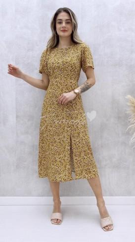 Beli Lastikli Tek Yırtmaç Elbise - Sarı