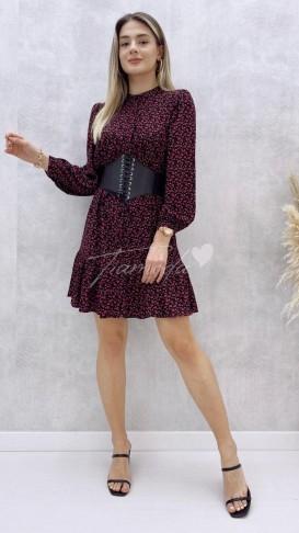 Bordo Çiçekli Kloş Elbise