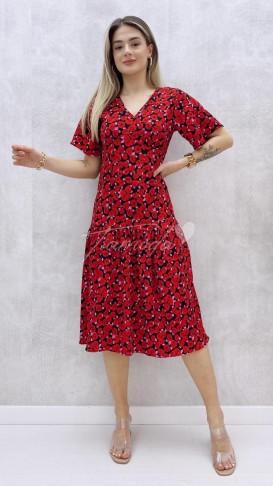 Gül Desenli Kısa Kol Elbise - Kırmızı