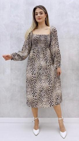 Prenses Kol Leopar Desen Elbise