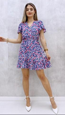 Eteği Volanlı Kruvaze Elbise - Lila