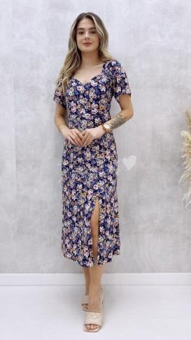 Kalp Yaka Çiçekli Elbise - Lacivert