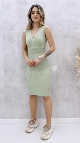 Çapraz Yaka Kolsuz Elbise - Mint
