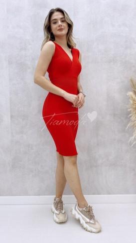 Çapraz Yaka Kolsuz Elbise - Kırmızı