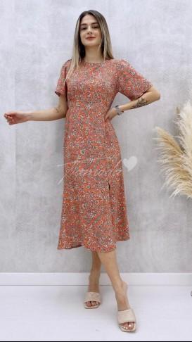 Tek Yırtmaç Kısa Kol Elbise - Turuncu