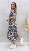 Kasımpatı Çiçekli Gömlek Elbise - Siyah