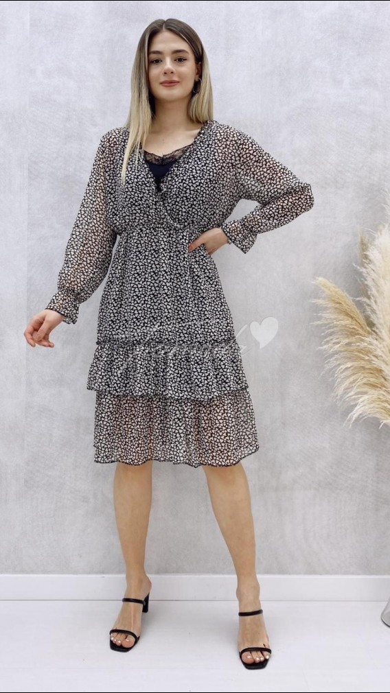 Yaka Dantel Astarlı Elbise