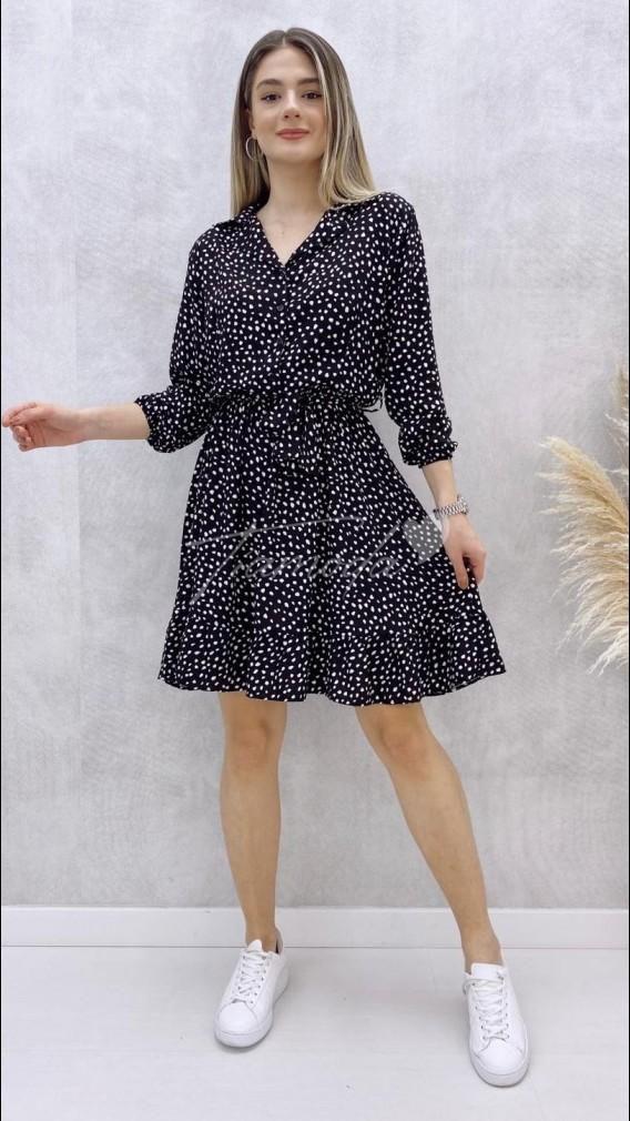 Beli Kuşaklı Desenli Elbise - Siyah
