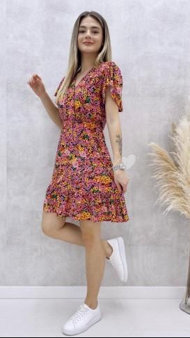 Eteği Volanlı Kruvaze Elbise - Pembe