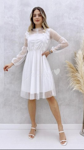 Güpürlü Elbise - Beyaz