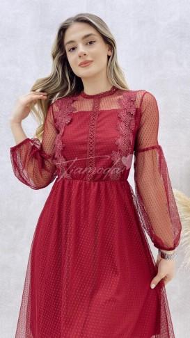 Güpürlü Elbise - Bordo