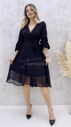 Kol Büzgülü Midi Şifon Elbise - Siyah