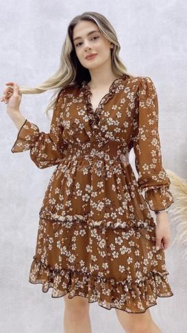 Yaka Fırfır Gipeli Elbise