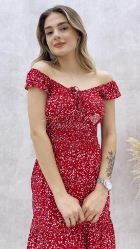 Çıtır Desen Mini Elbise - Kırmızı