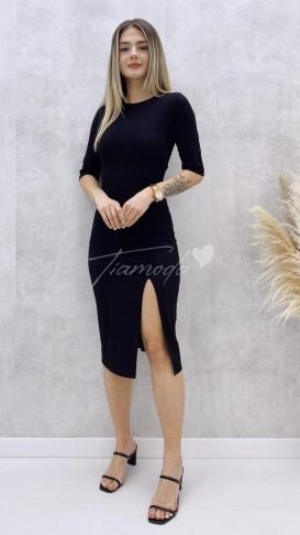 Yırtmaçlı Penye Elbise - Siyah