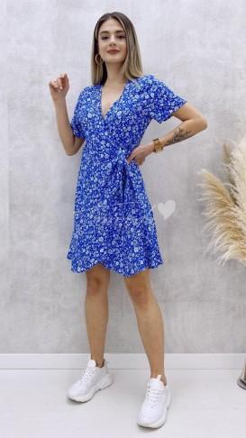 Anvelop Çiçekli Elbise - Mavi