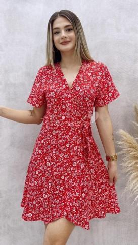 Anvelop Çiçekli Elbise - Kırmızı